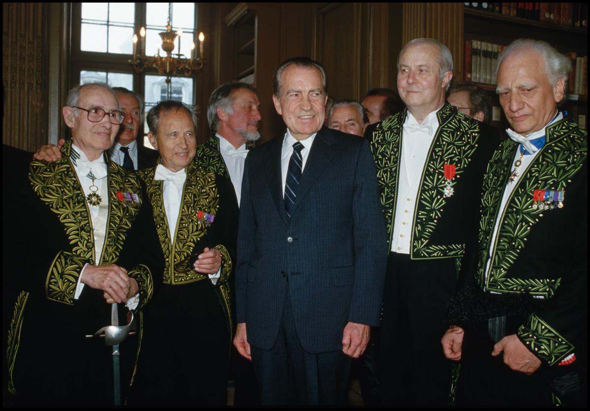 May 1987, Paris, France --- Richard Nixon at the Institut de France, May 1987