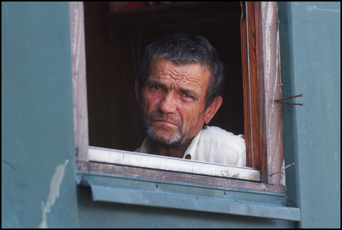 23 Jul 1993, Klanjec, Croatia --- Bosnian refugee living in a railway car in Klanjec, Croatia.