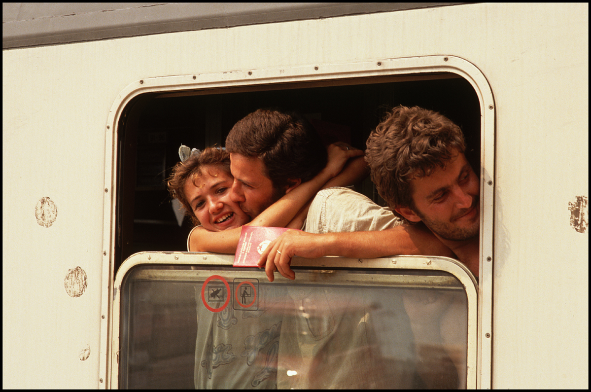 July 1990, Brindisi, Italy --- Albanian refugees arriving in Italy by train