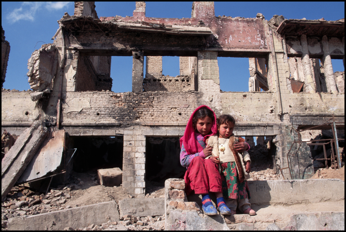 March 1996, Kabul, Afghanistan --- The ruins of buildings destroyed both by Soviet attacks and the Afghan civil war.