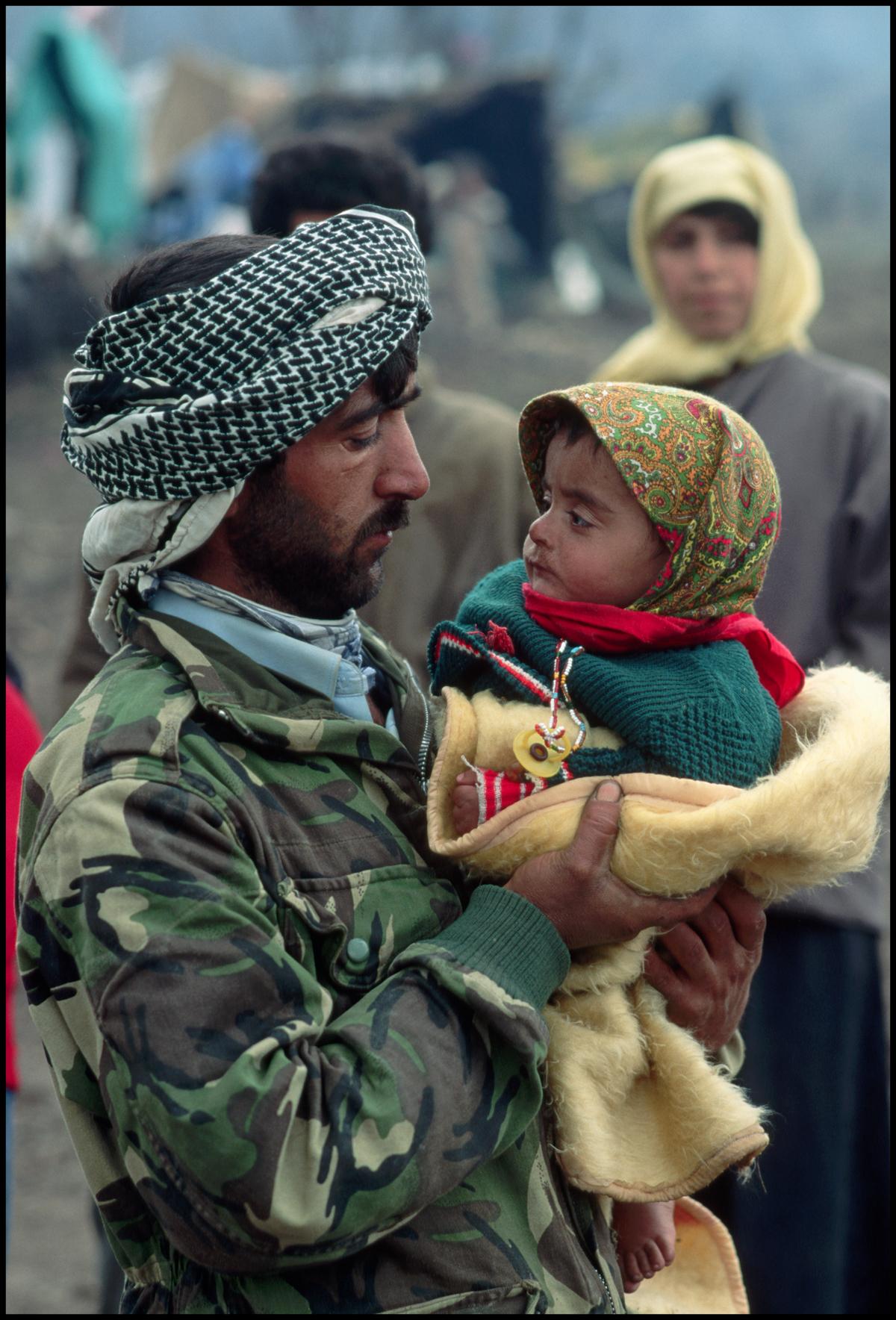 April 1991, Isikveren, Turkey --- Iraqui Kurds on Isik Veren Mountain, Turkey.