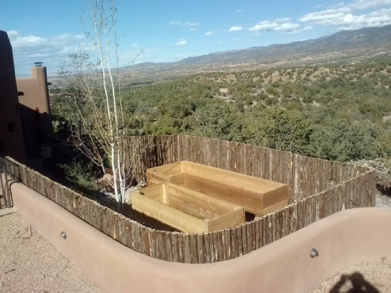 Cedar Planters with Coyote Fence