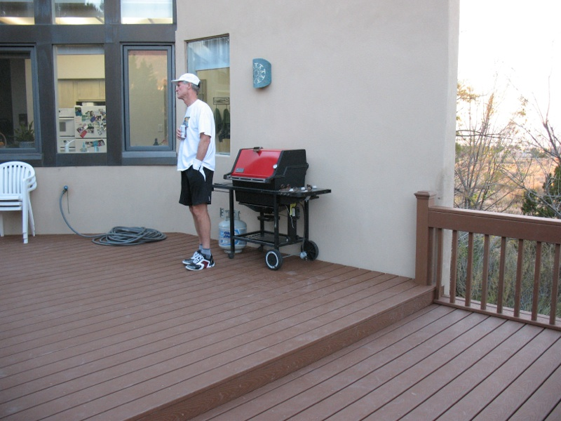 Trex deck with railing