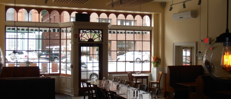 The Coffee Shop facade,   replicated    by The Woodstone Company    [ http://www.woodstone.com/ ], as it appears today from inside Popolo Restaurant. The replication was completed in 2010.