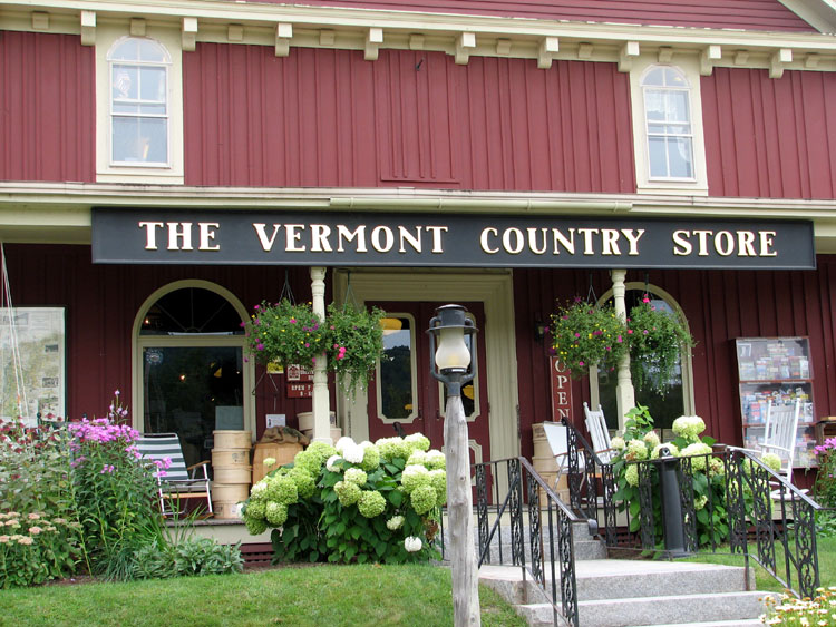 The iconic Vermont Country Store just north of the village on the way to Chester, VT.     http://www.vermontcountrystore.com/