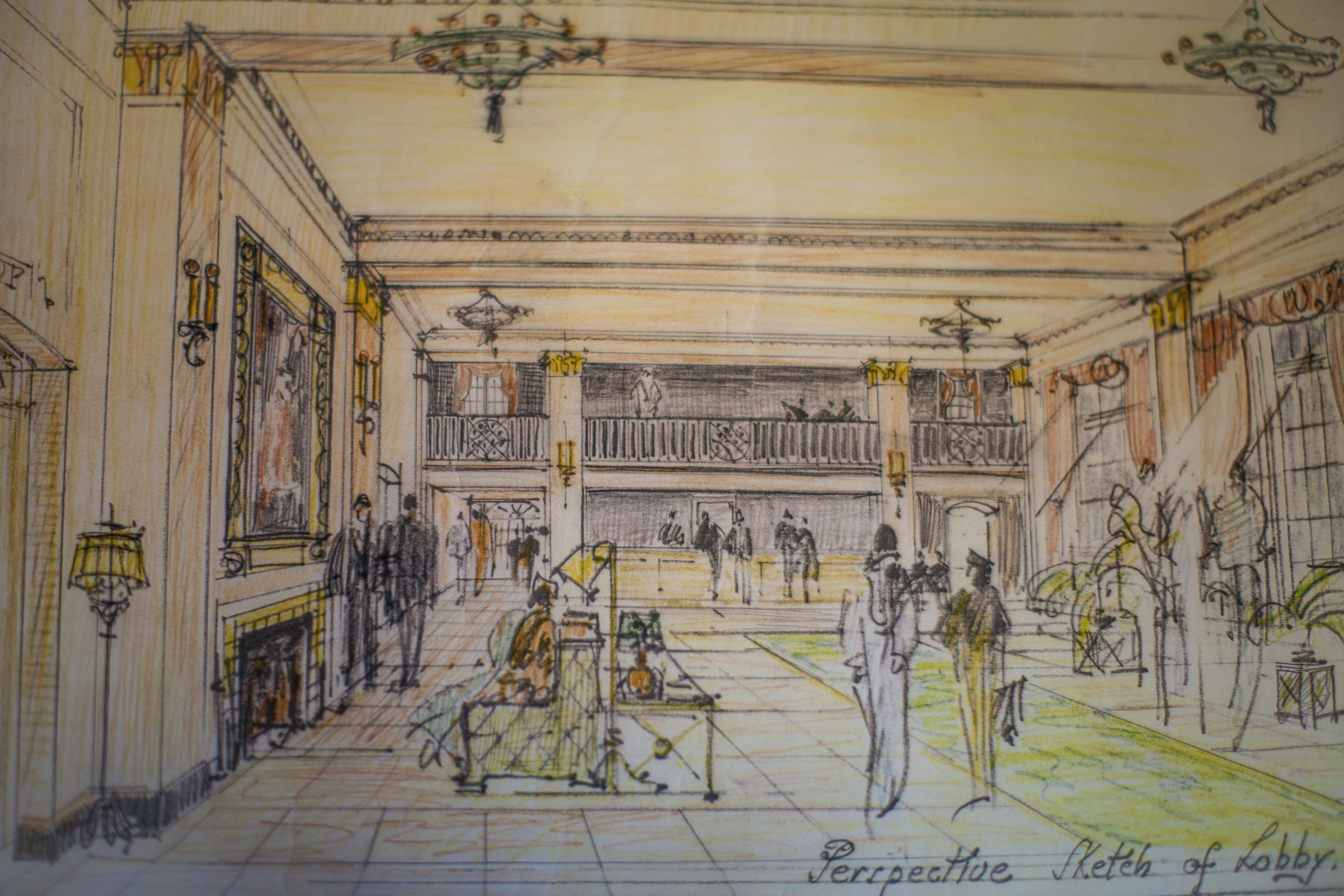 A   Harper and West, Architects   1932 pastel rendering of the proposed Hotel Windham Lobby.
