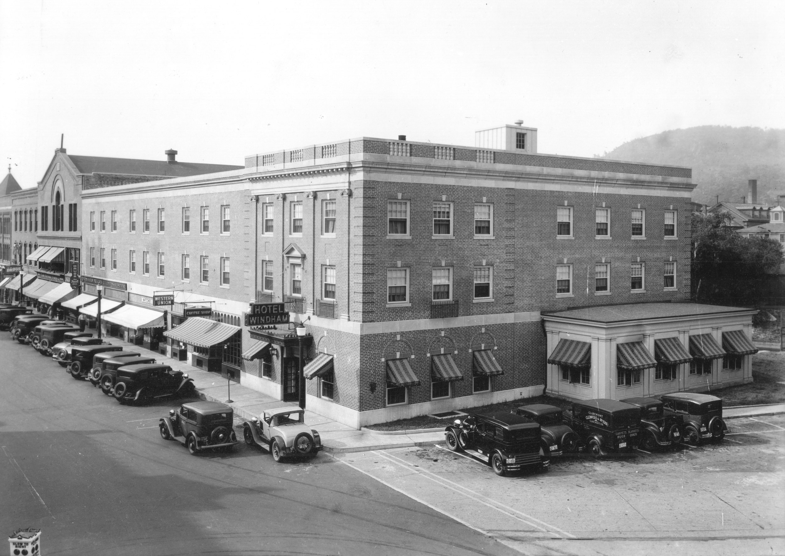 The Georgian Revival Hotel Windham as it was constructed on the original hotel site in 1933 after the great fire.