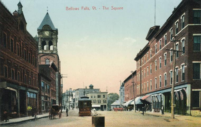 One of the earliest postercard photographs of the Village of Bellows Falls, On the Square, as it looked in the late 1800s. Looking at the north end of The Square, the four-story hotel, on the right, was destroyed in a 1932 fire and replaced by the current three-story Georgian Revival classic.