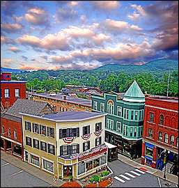 The historic north end of The Square in Bellows Falls during Old Home Days.     http://www.gfrcc.org/oldhomesdays.html