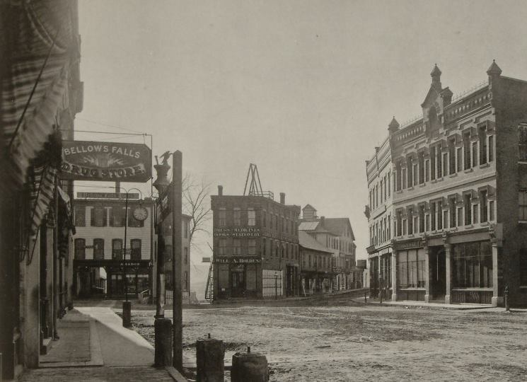 Looking to the south end of The Square, one of the early Hotel Windham predecessors was located at the far corner of the side walk on the left where the street clock can be seen.        https://www.facebook.com/BellowsFallsHistoricalSociety