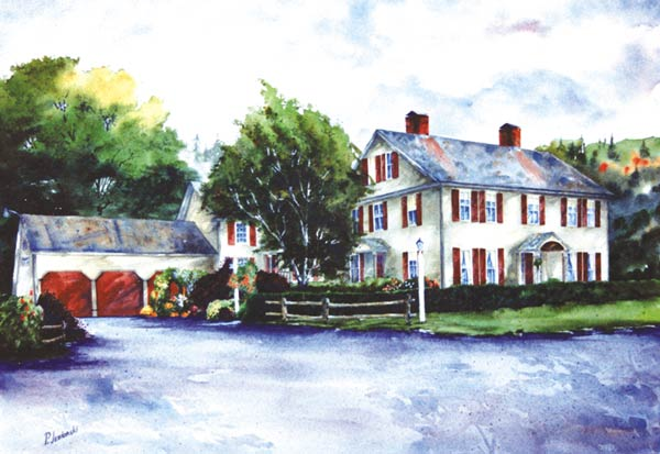 """Rockingham was at one time called the """"Village of Seven Taverns"""", and what is now Leslie's Tavern was located on the busy new """"Post Road"""" (1795), just a mile or so north of the Bellows Falls Village. Young Enos Lovell built the main structure, perhaps at first for his growing family, later as a tavern, and it was a successful endeavor for him. The tavern furnished food, shelter and conviviality to the public arriving by stagecoach.       http://www.lesliestavern.com/"""