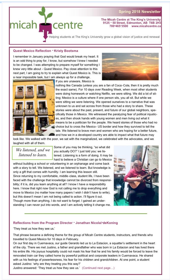 King's University Newsletter - https://www.kingsu.ca/programs/additional-academics/micah-centre/newsletter