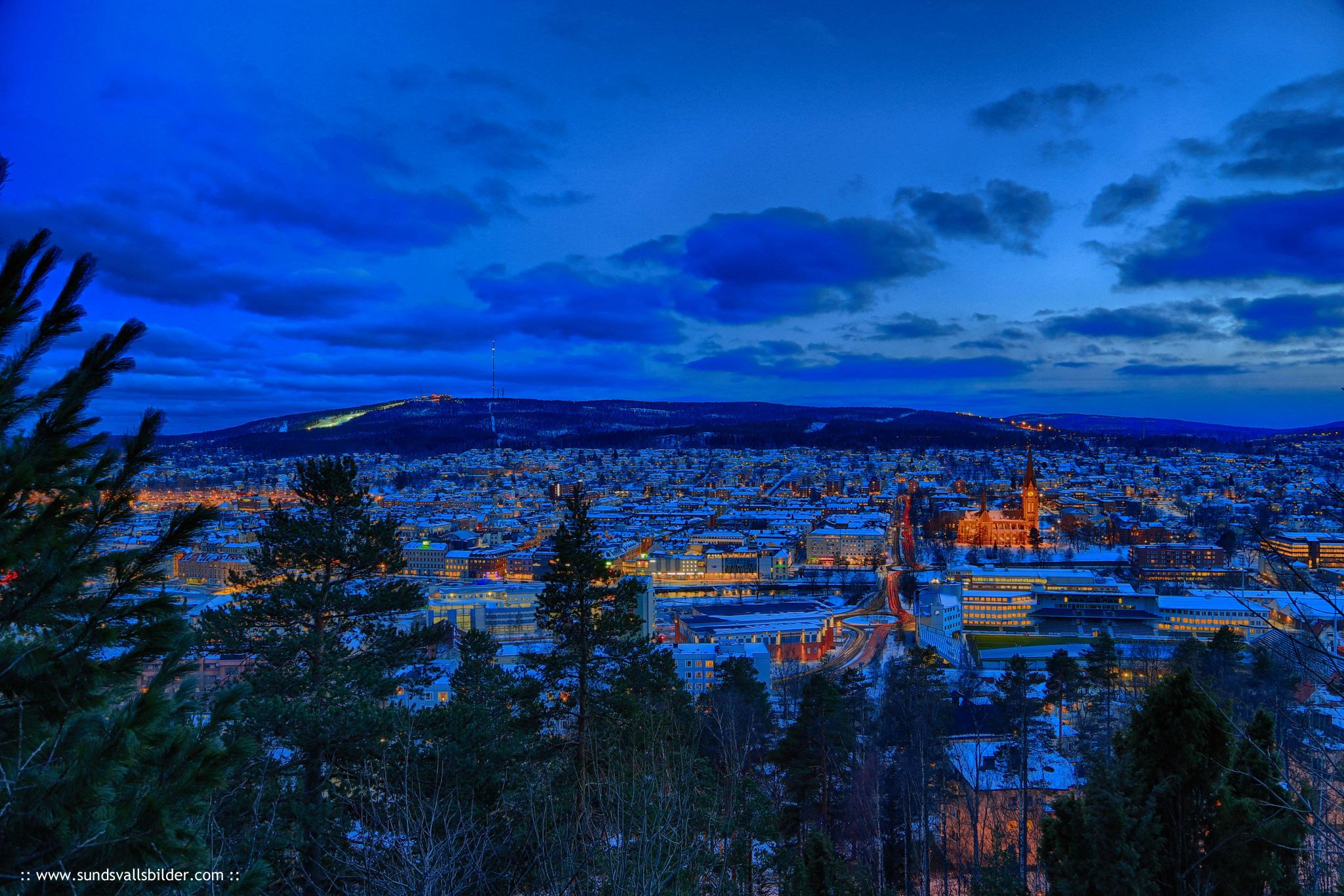 Sundsvall, Sweden, by night.