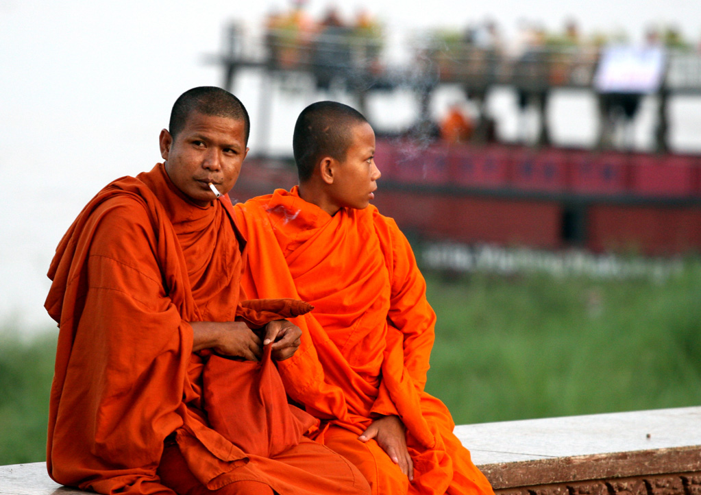 Smoking monks. Phnom Penh.