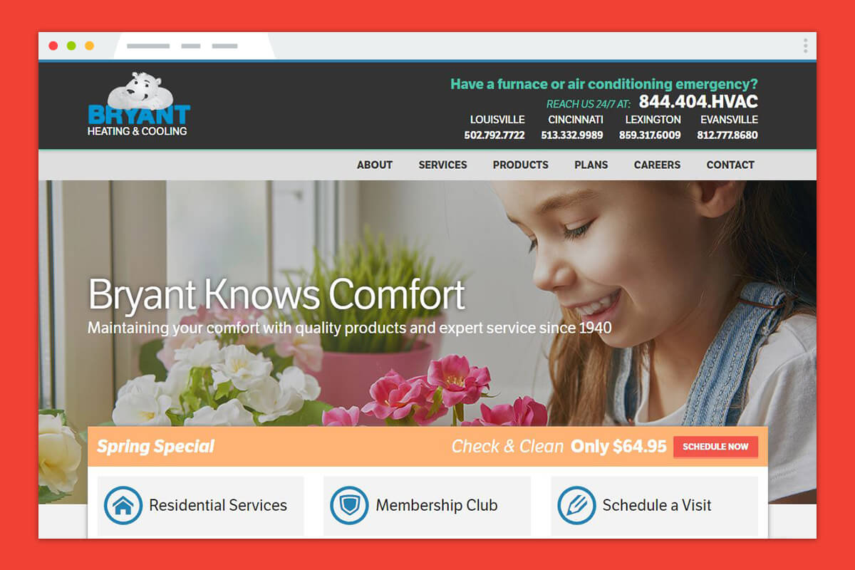 Bryant's Heating and Cooling Responsive Redesign