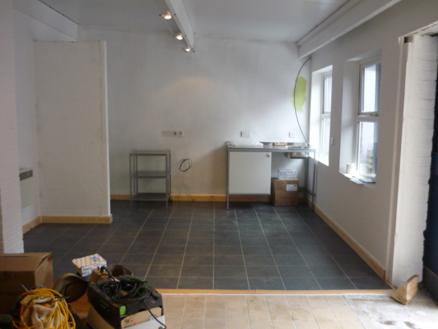 The bare bones of the kitchen area.