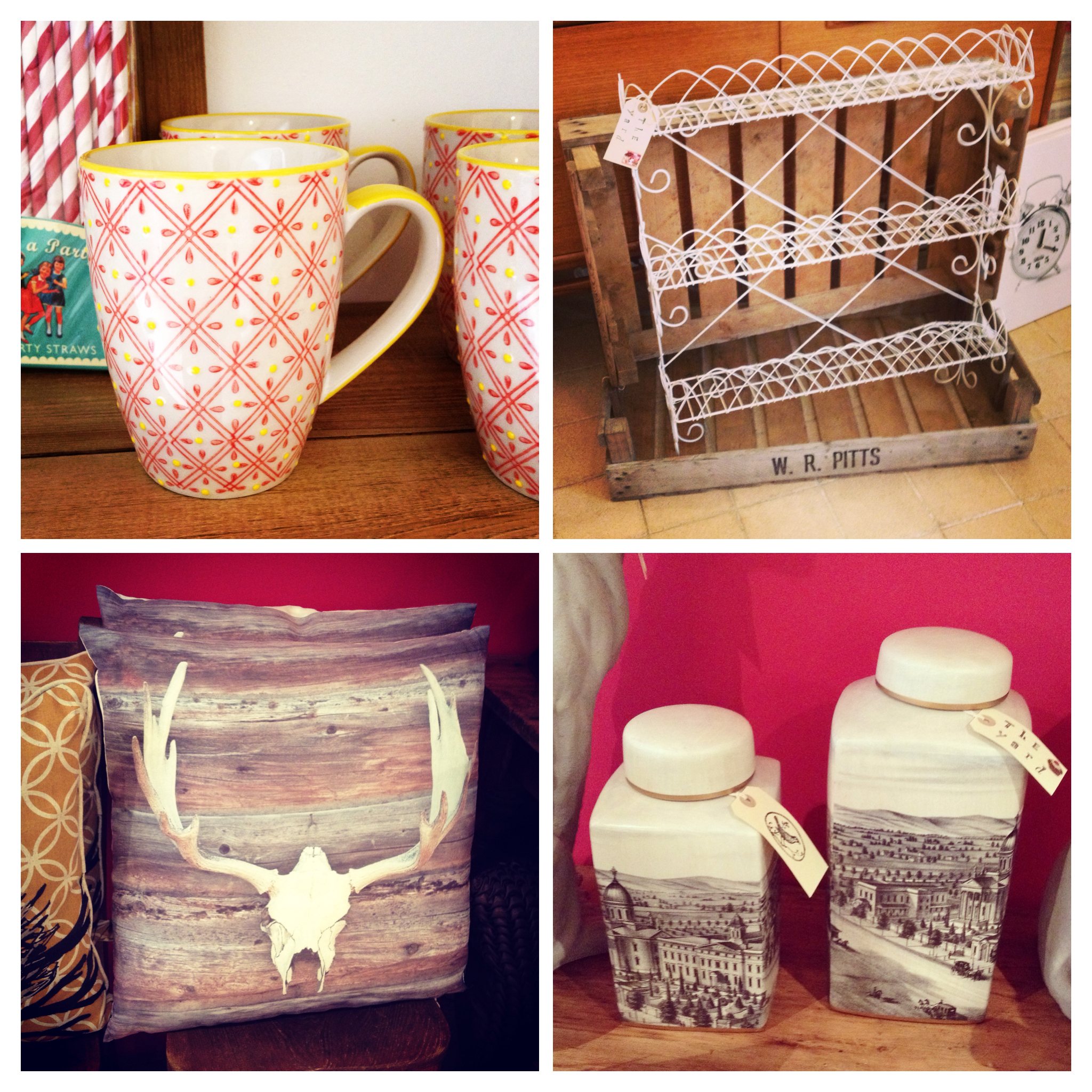Cheerful mugs, wire wall rack, skull and wood cushion and city scene jars.