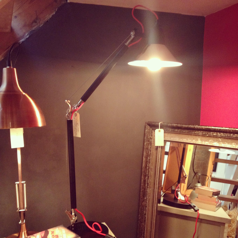 Black and chrome angle table lamp