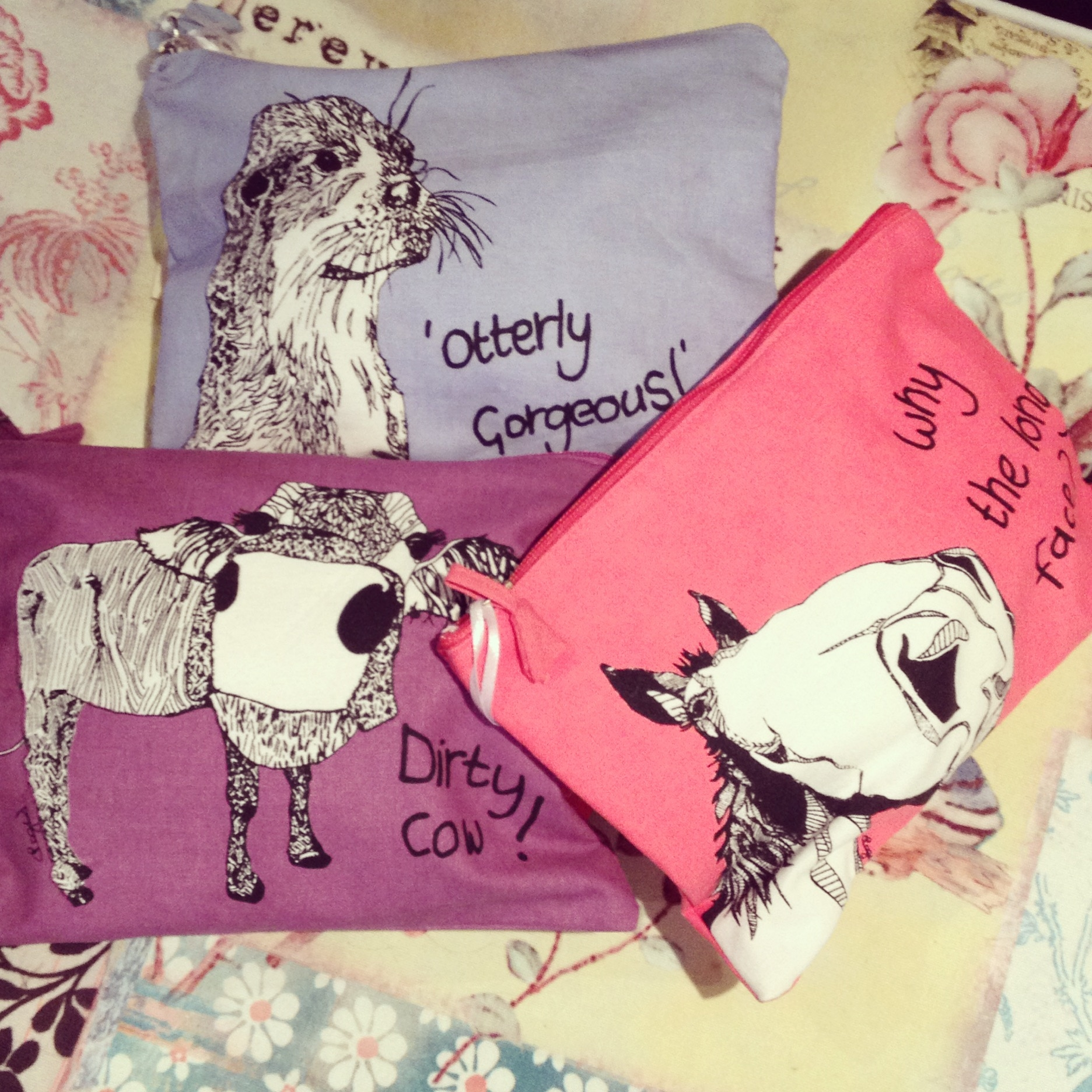 Back by popular demand fun make up bags, 'Otterly gorgeous!', Why the long face? and Dirty cow!