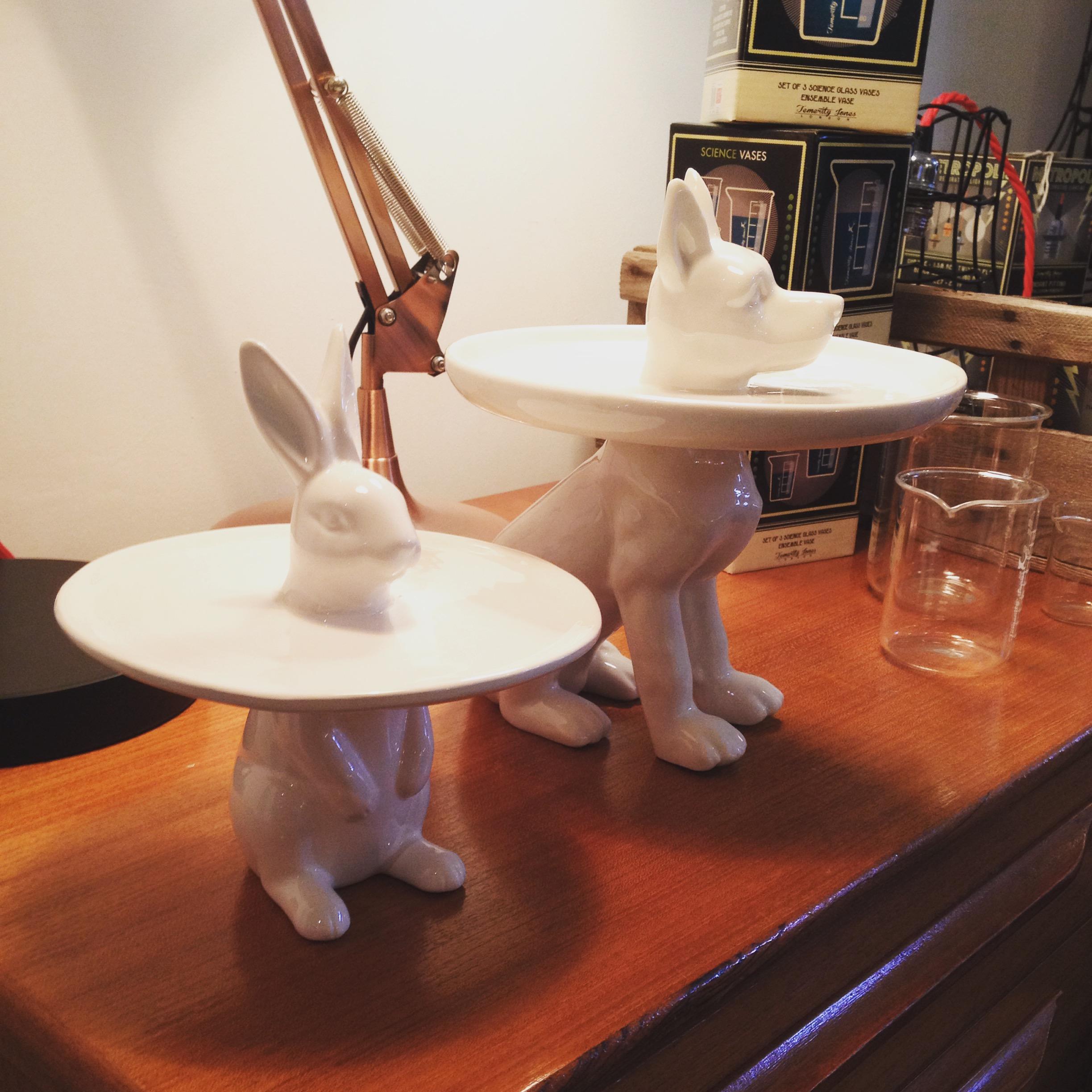 Ceramic Rabbit and Dog plates