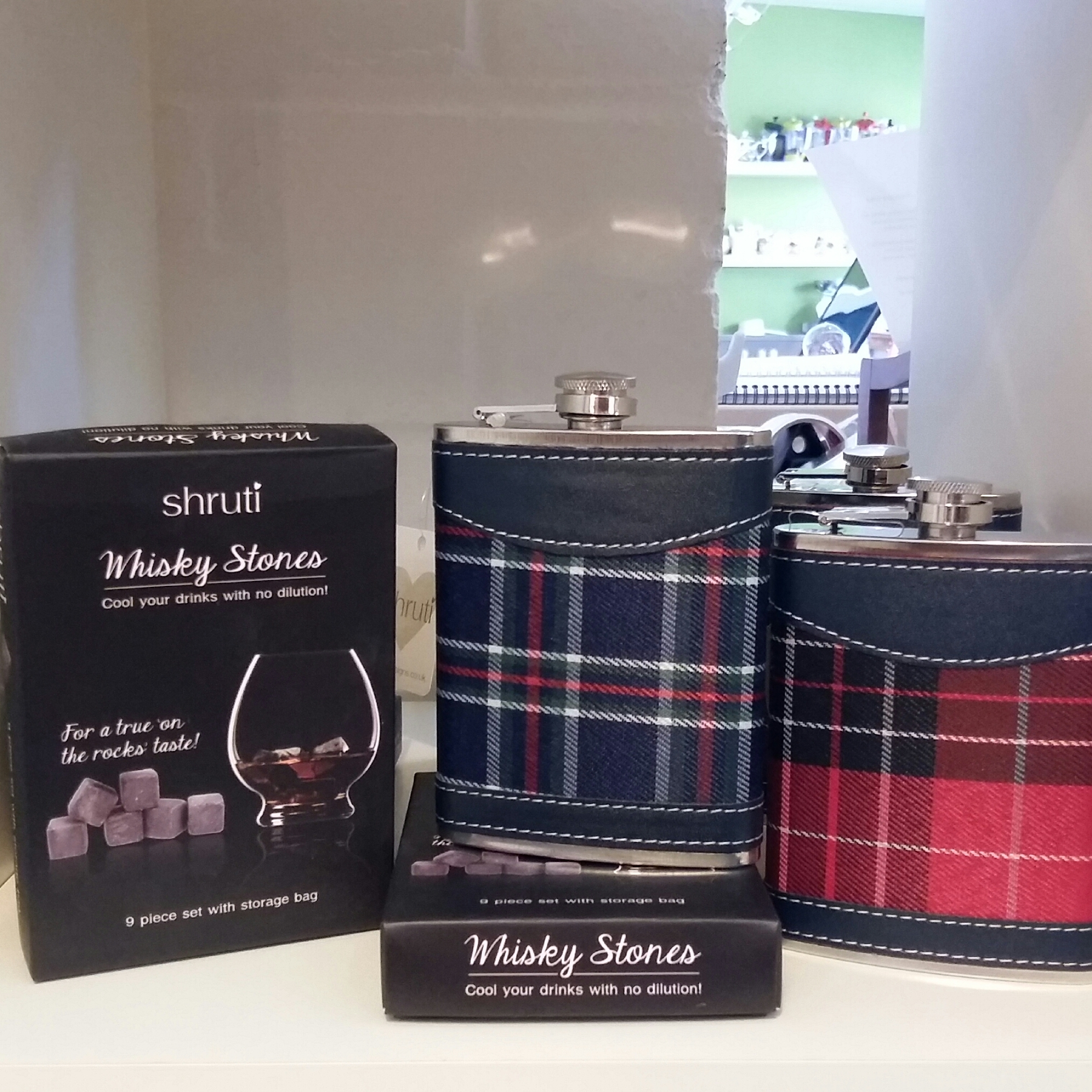 Great gifts Whiskey stones and tartan hip flasks