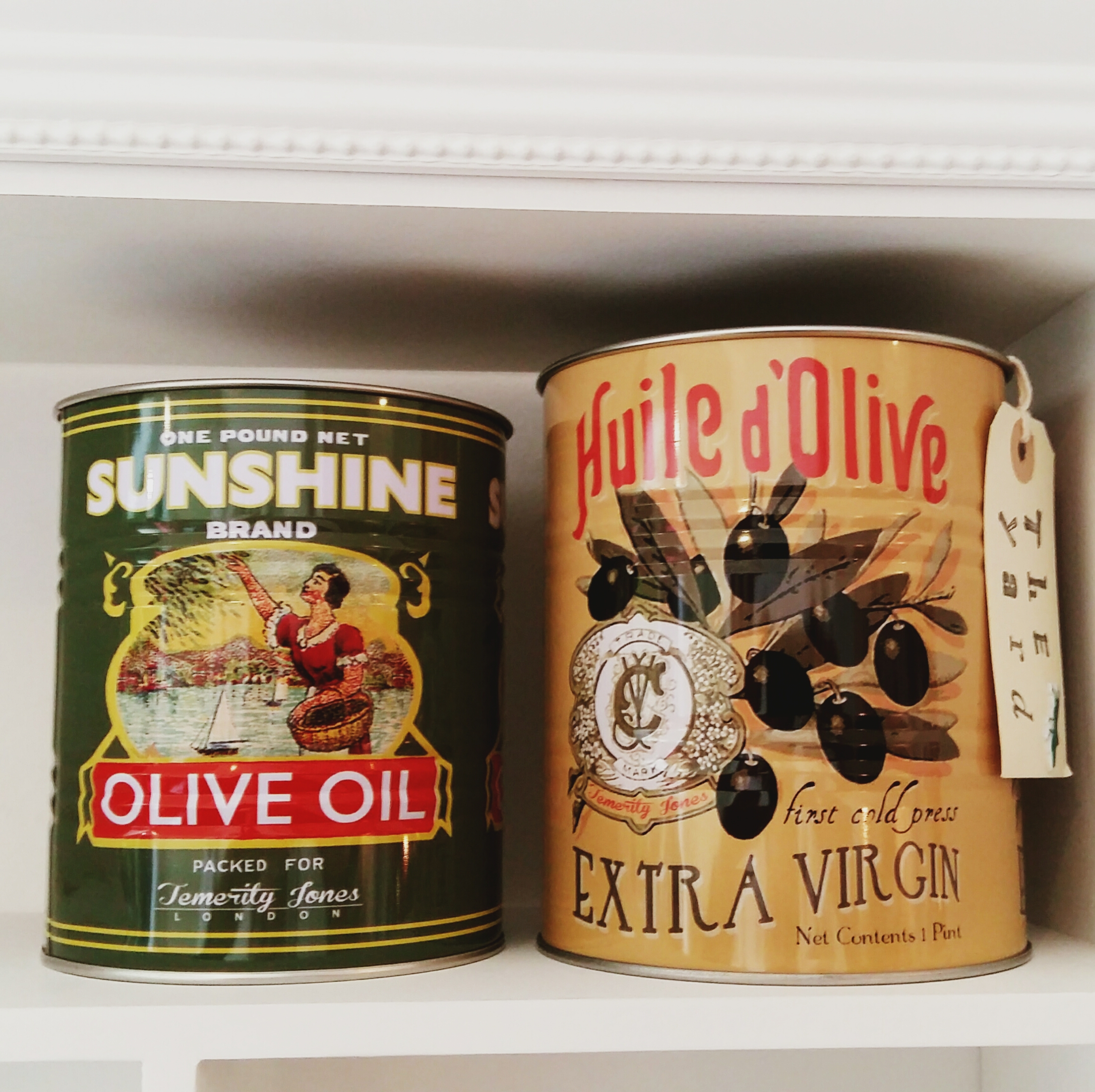 Olive tins set of two great for kitchen storage