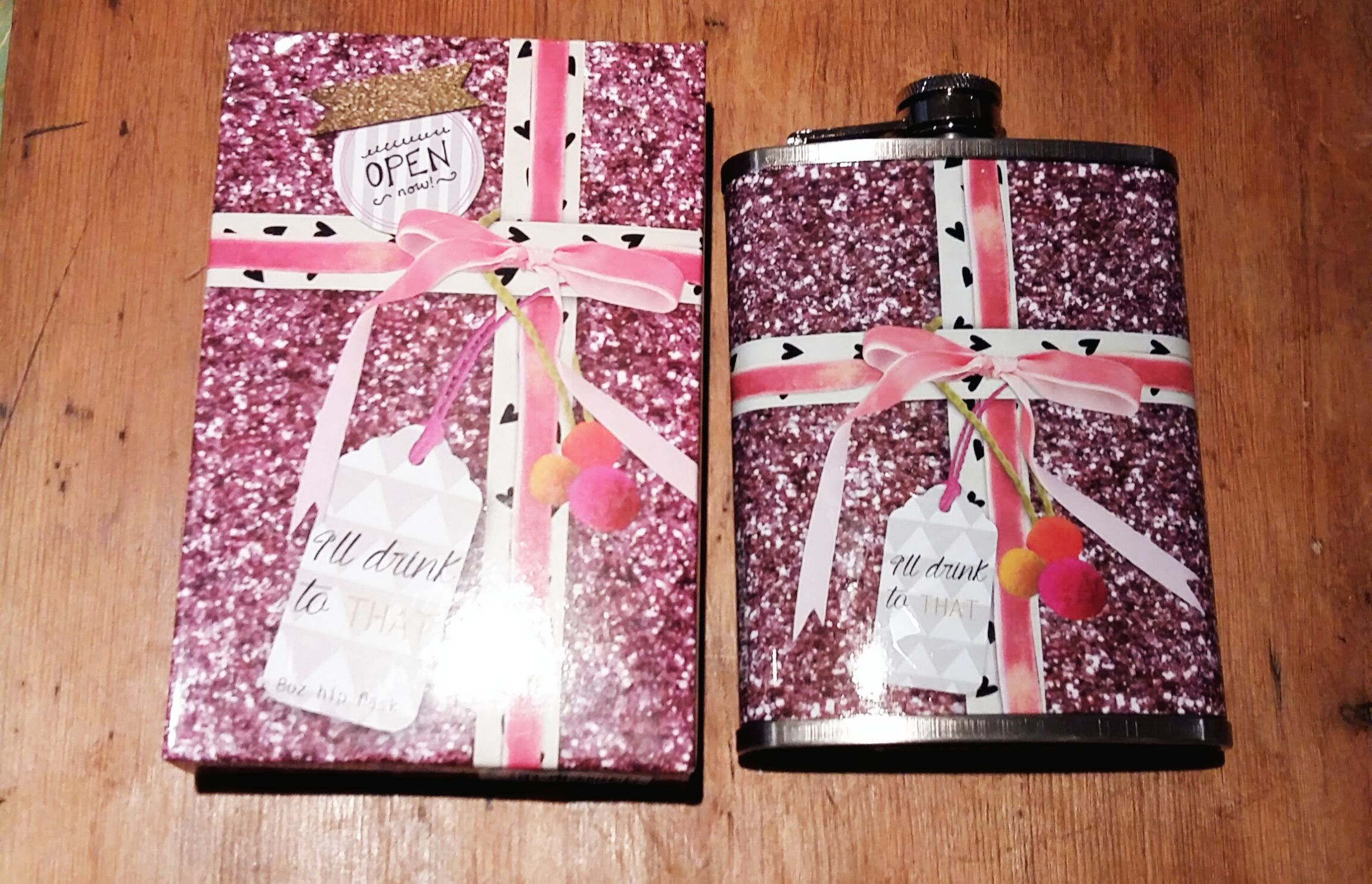 Boxed hip flask handy for Christmas parties
