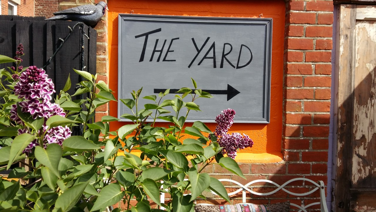 Lilac in bloom and our new sign