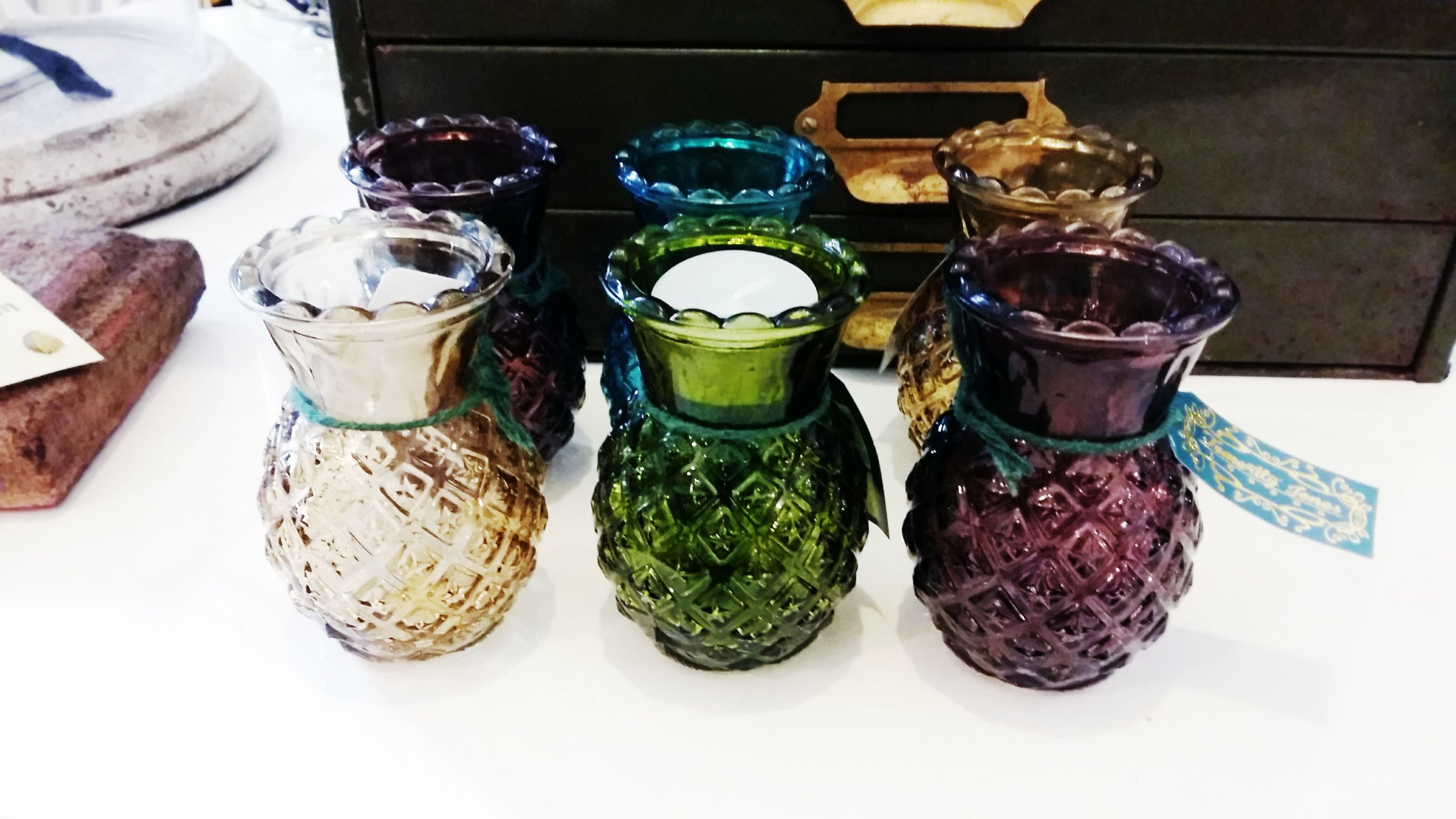 Pineapple glass vases in four colours