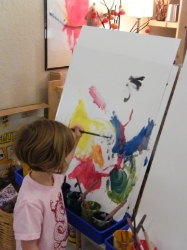 Painting at the easel