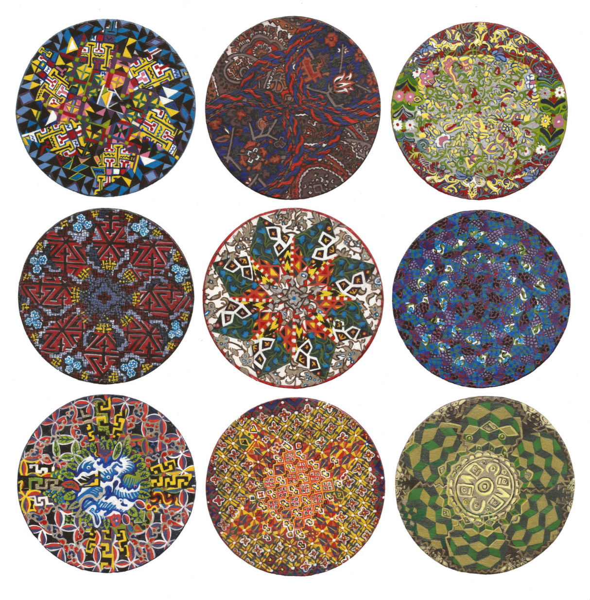 Biography 1.1 - 1.9   Acrylic on Wood x9  4-inch wide circles (10cm wide circles) 2014