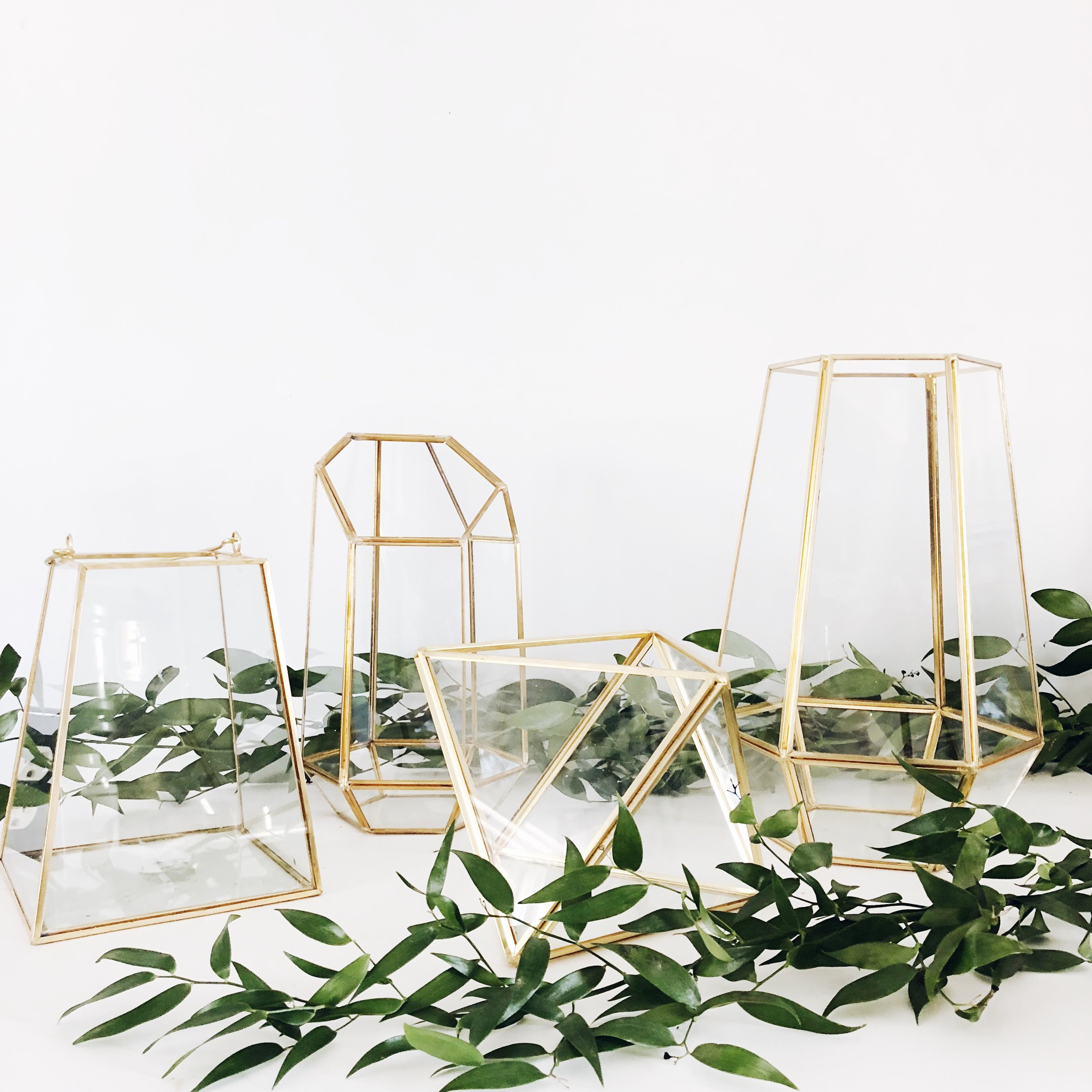 gold geometric terrariums