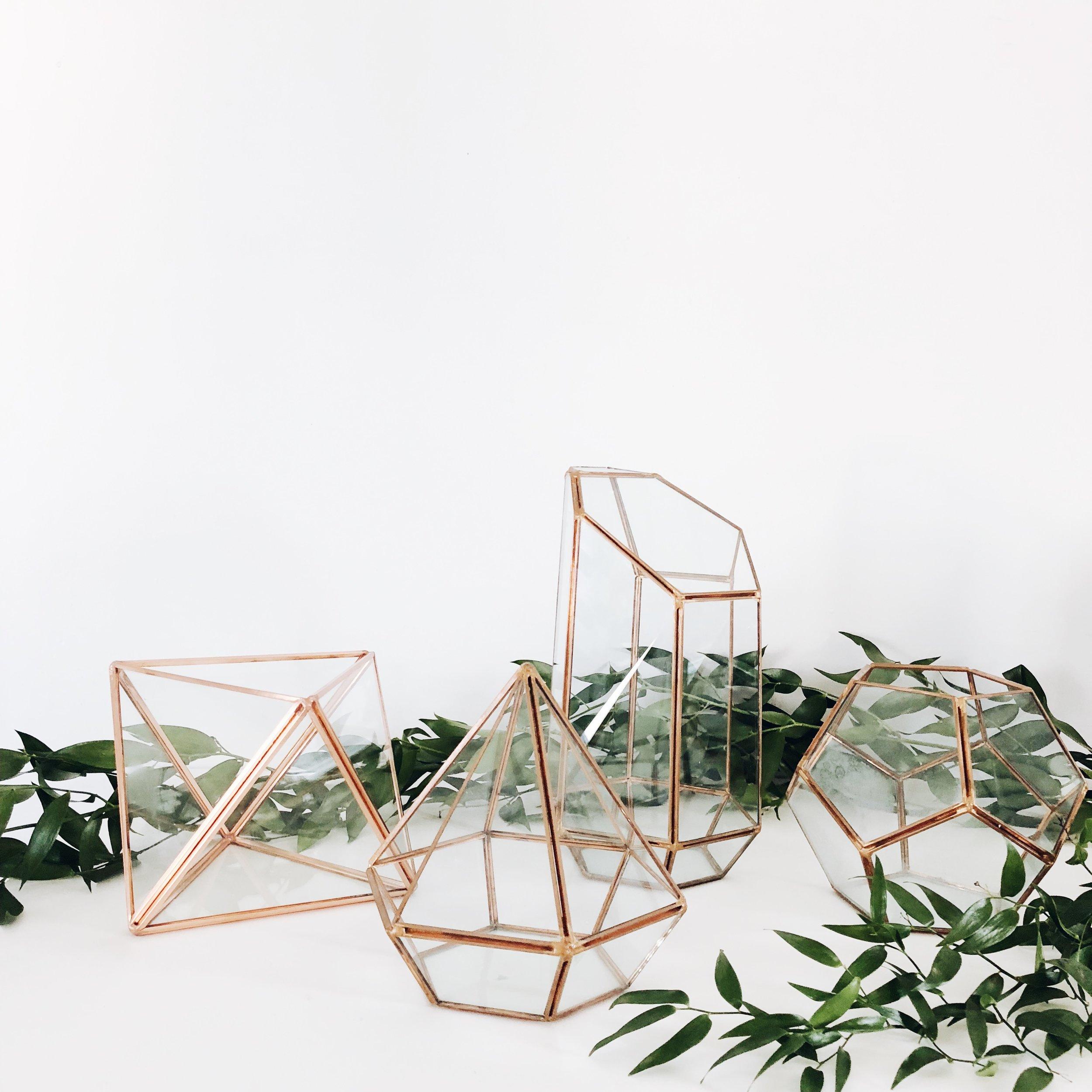 copper geometric terrariums