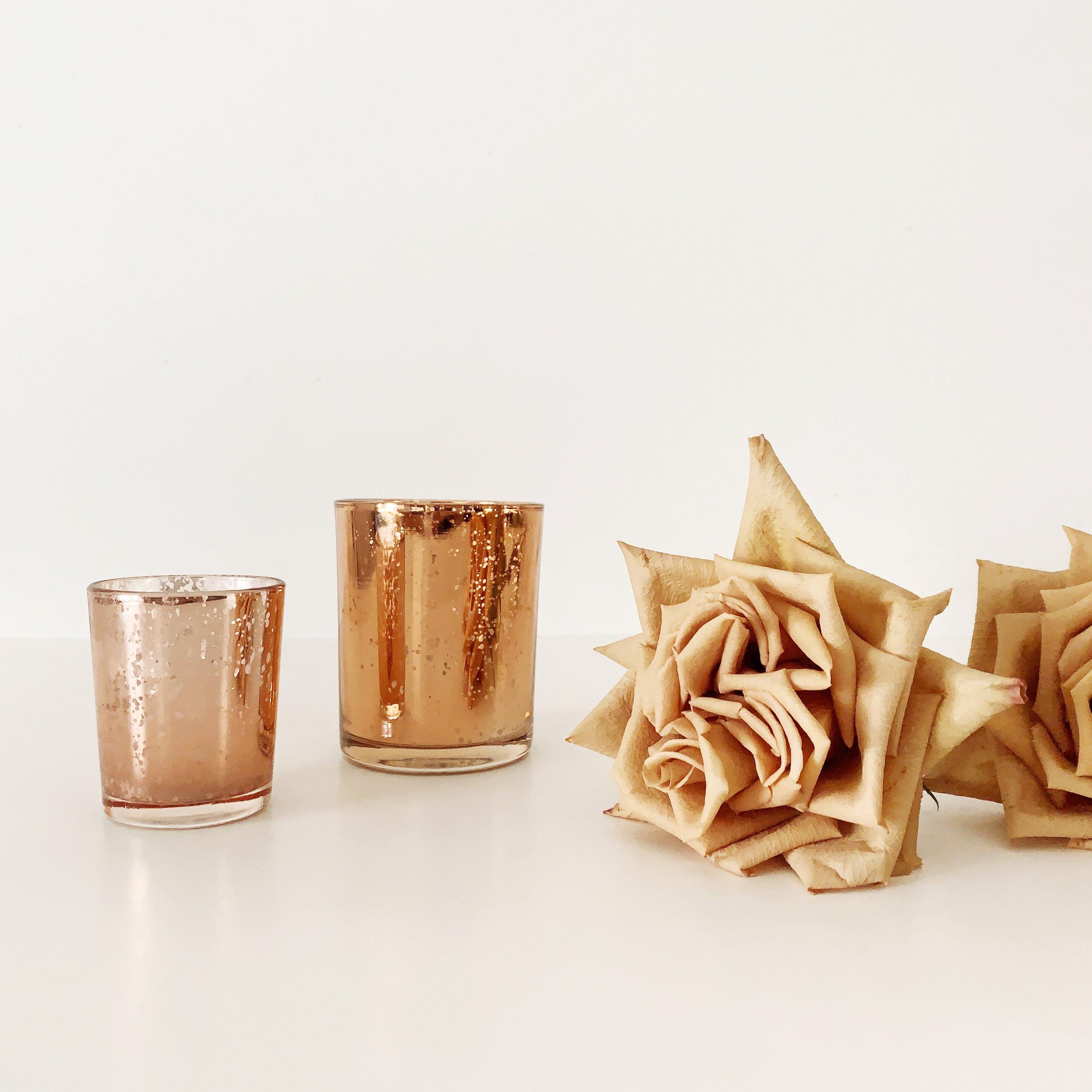 copper mercury glass votive holders
