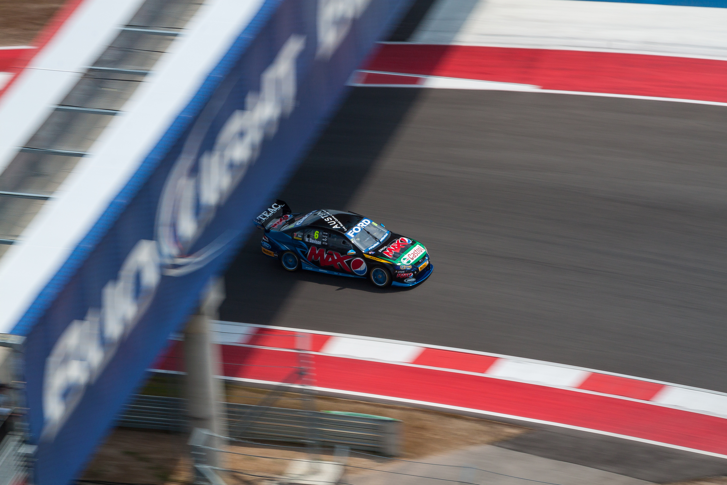 #6 Davison hunts down the shade on a scorching weekend at Circuit of the Americas Race Track in Austin, Texas.