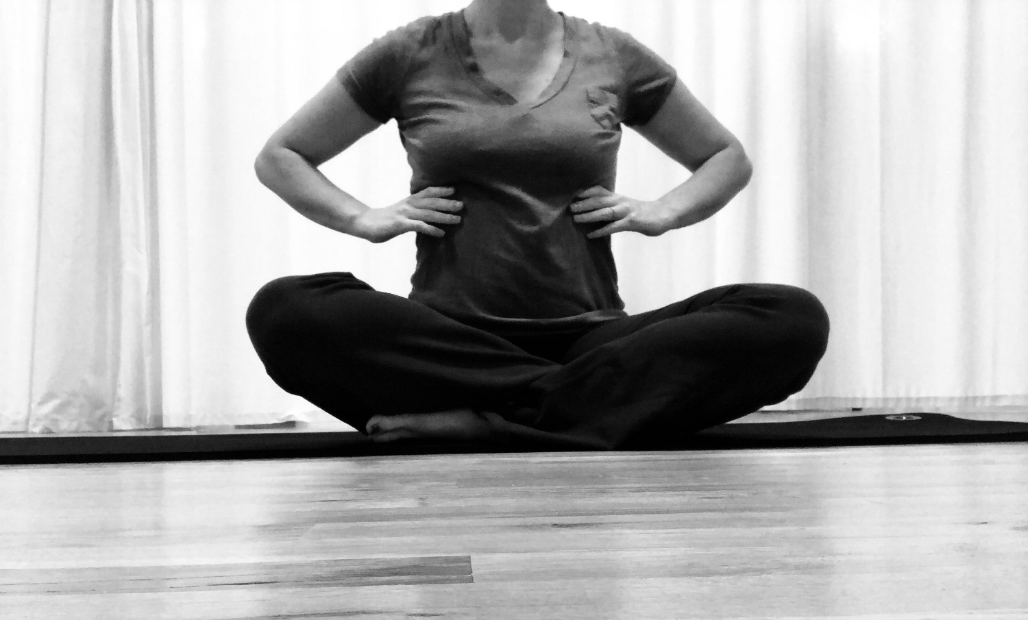 This is one of my favorites! It is a 3 step breathing exercise to help you gently connect to your deepest abdominal muscle (Transverse Abdominis) and to the pelvic floor.  1. Sit up tall directly over sitting bones, feeling belly button draw back towards the spine (You can also do this lying down). Place hands around rib cage and breathe into hands. Inhale widen ribcage and exhale narrow the ribs, feeling them pull together.  2. Place hands on hip bones. Again, breathe into hands and imagine hip bones widening like the rib cage (the hip bones will not really move. We are using imagery to help us find lower abdominals). Exhale and imagine the hip bones are narrowing towards each other. This will help activate the lower abdominal muscles and bring awareness to this area.  3. Picture your sitting bones. Inhale, breathe into the space between them and picture the sitting bones widening (pelvic floor releasing). Exhale imagine hip bones narrowing together (pelvic floor engaging gently). Be careful not to squeeze your glutes, instead really try to engage the pelvic floor. This may take some practice!