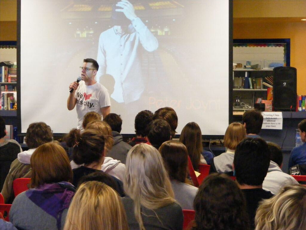 Peter Joynt speaking at a high school in Ottawa. Motivational Public speaking