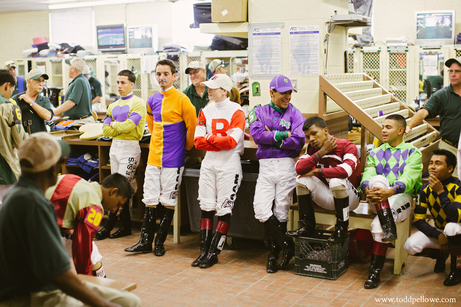 Jockeys before Kentucky Derby in locker room