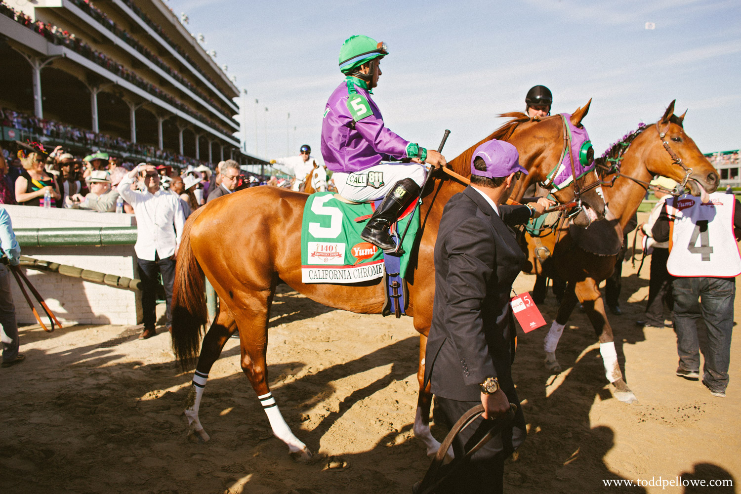 California Chrome entering track at Kentucky Derby 140