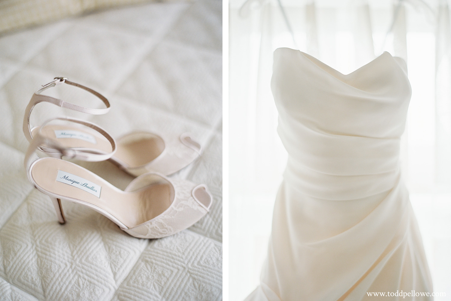 Monique Lhuillier Wedding Shoes and dress