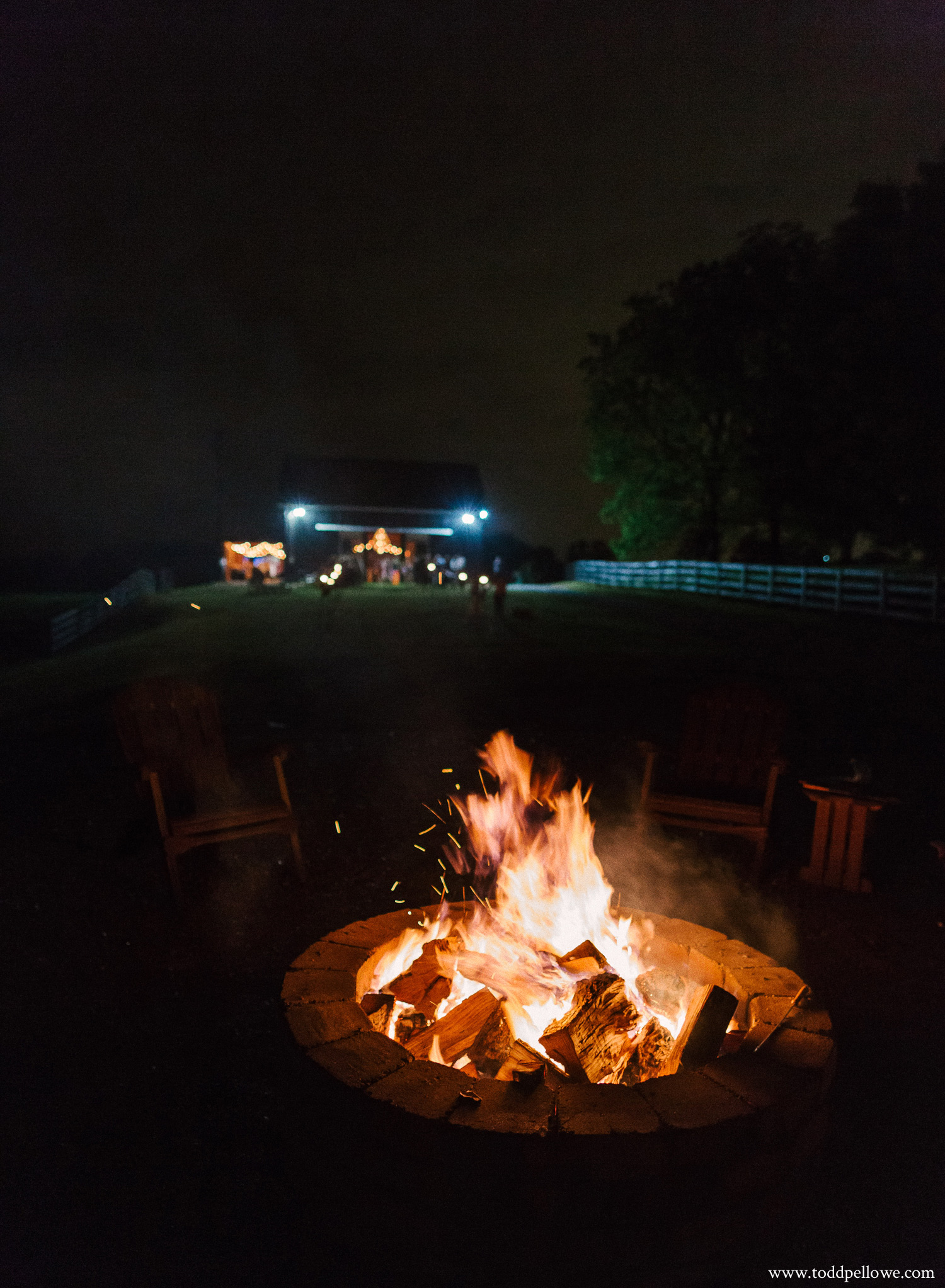 Bonfire at Kentucky farm wedding