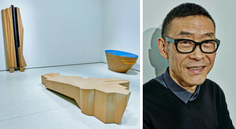 """Left, Wang Jianwei's """"Time Temple 5"""" (2014). Right, Wang at the Guggenheim Museum in New York."""