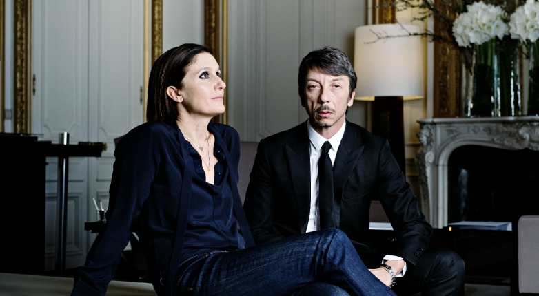 Valentino co-creative directors Maria Grazia Chiuri and Pierpaolo Piccioli in Paris.