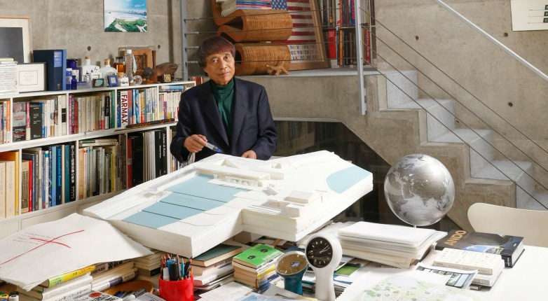 Tadao Ando at his firm's office in Osaka, Japan