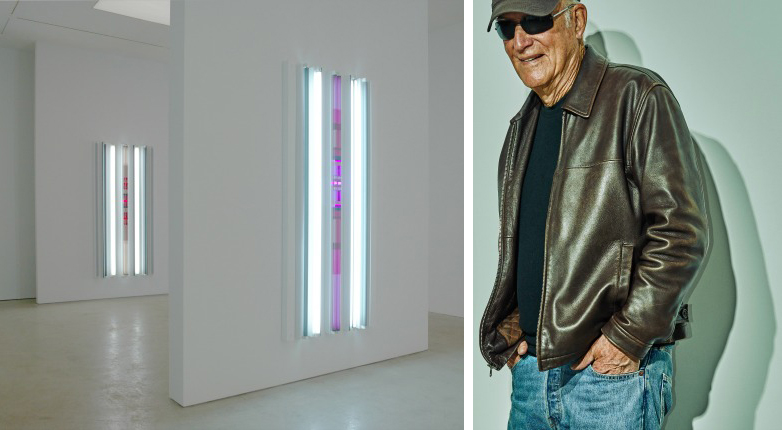The installation at Pace (left) andRobert Irwin at the Pace Gallery in New York (right).