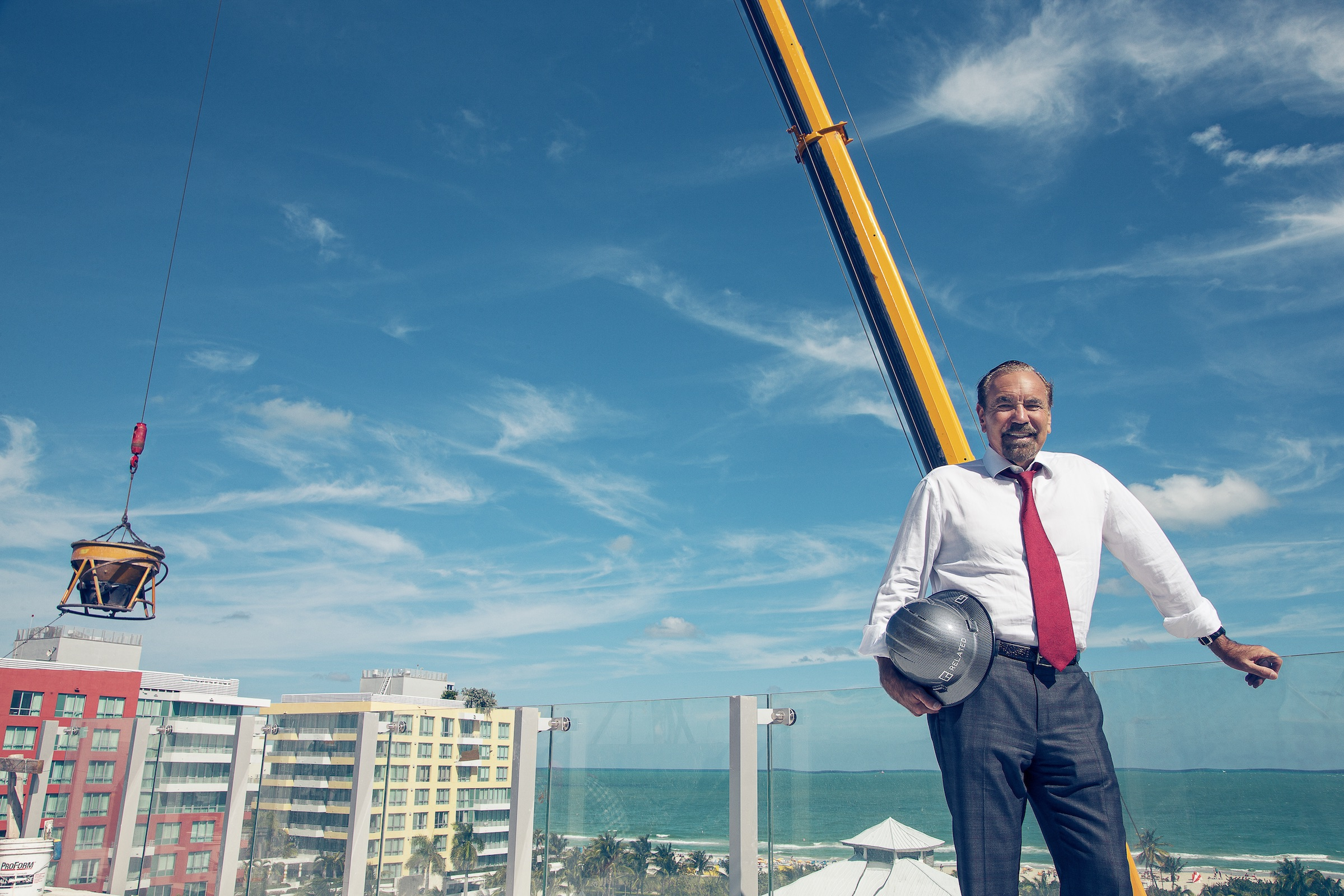 Pérez at his penthouse unit in the soon-to-finish One Ocean development in Miami Beach.