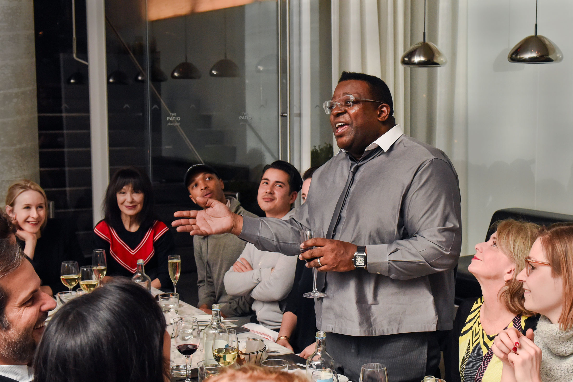 Isaac Julien holds forth over dinner at Hôtel Americano.(Photo: BFA/Surface)