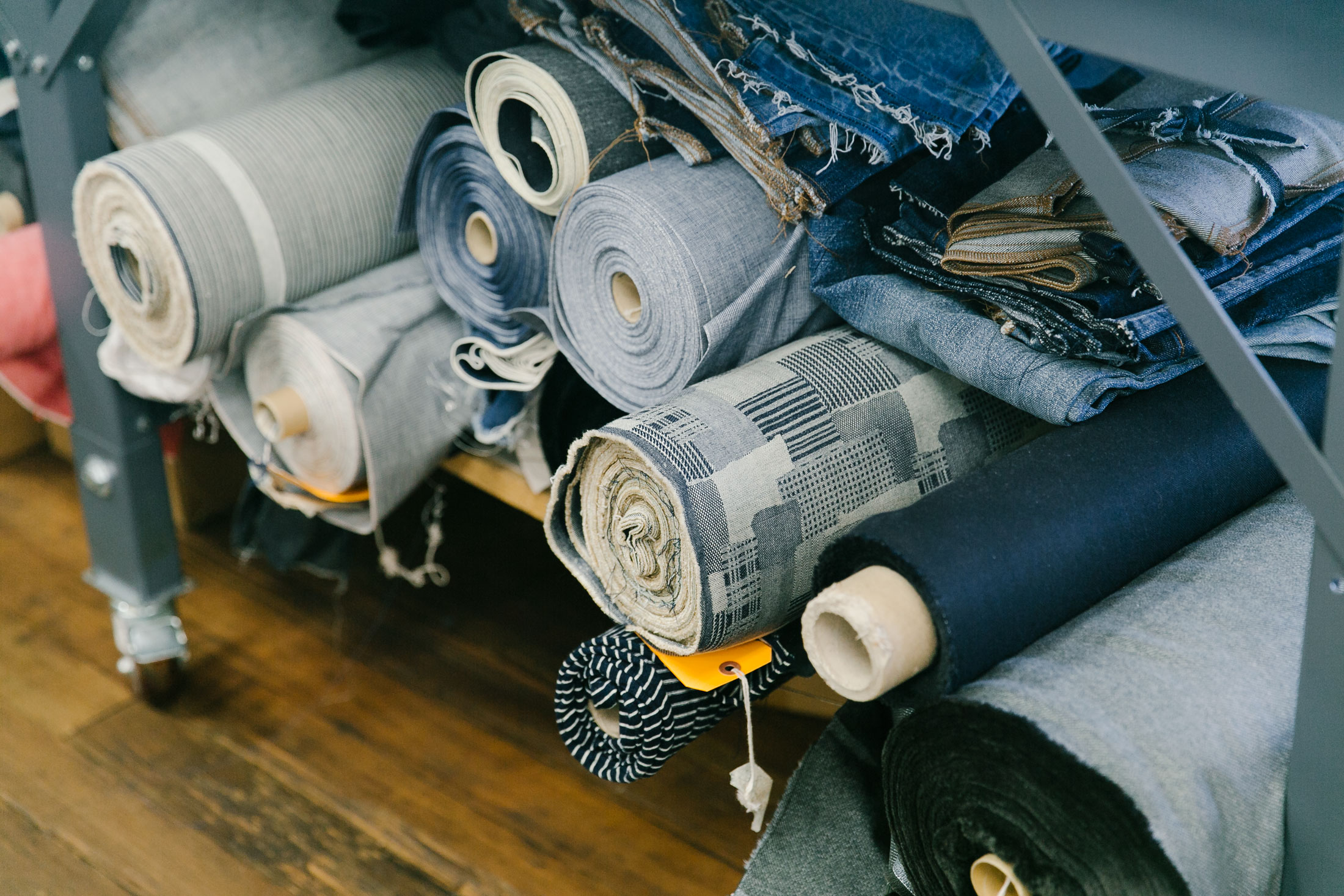"""Raw denim is sourced from around the globe (Italy Japan, Turkey, and the U.S.). """"We use the best fabrics,"""" Pierson says. """"When Madewell relaunched denim [in 2013], the non-negotiable was the fabric."""" (Photo: Angi Welsch/Surface)"""