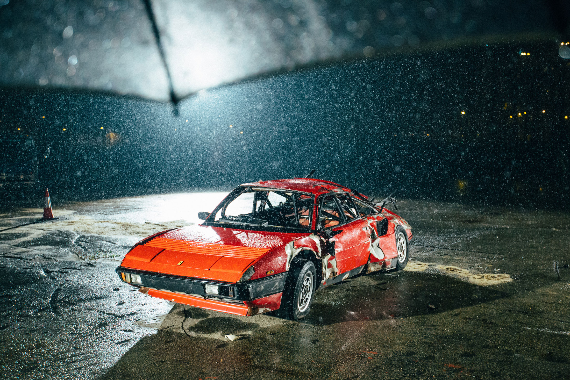 A still from Burch's Ferrari crash film. (Photo: Courtesy Simon Burch)