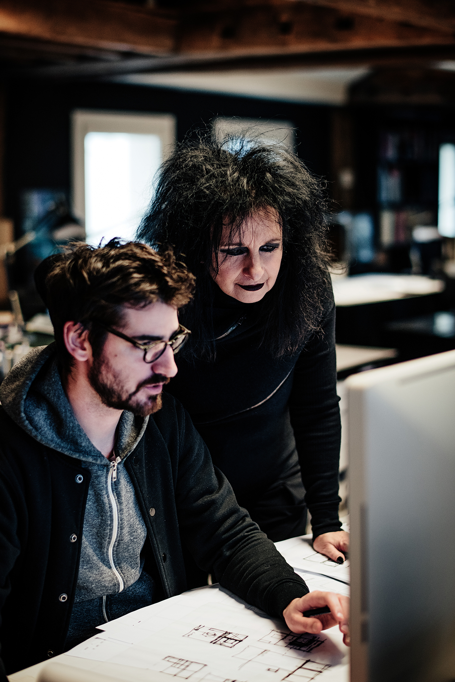 Decq working with a colleague at her studio.  (Photo: Franck Juery/Surface)